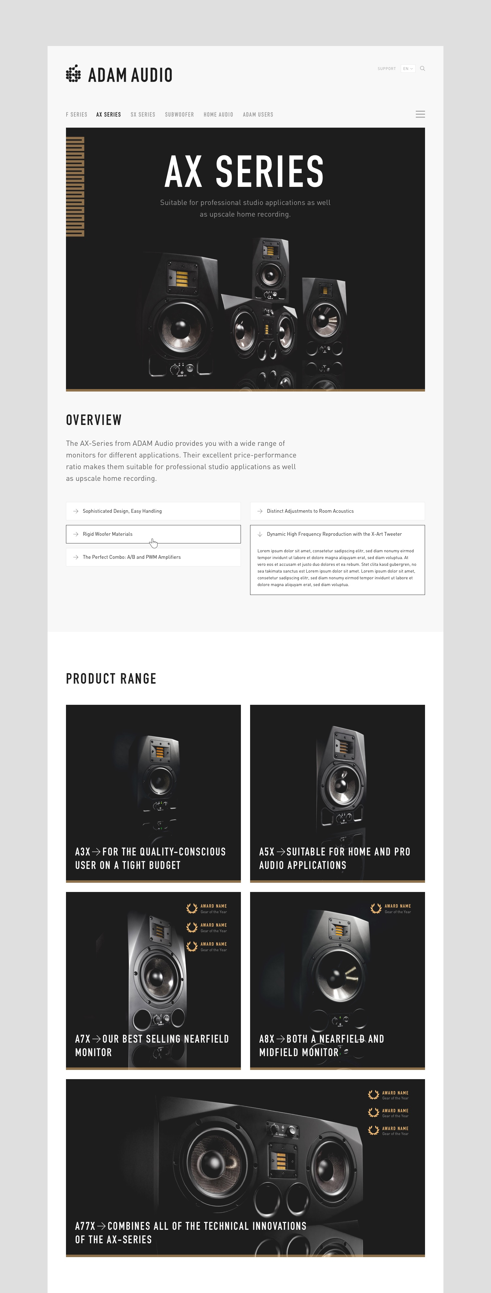 Adam Audio landing page design by Felix Dorner