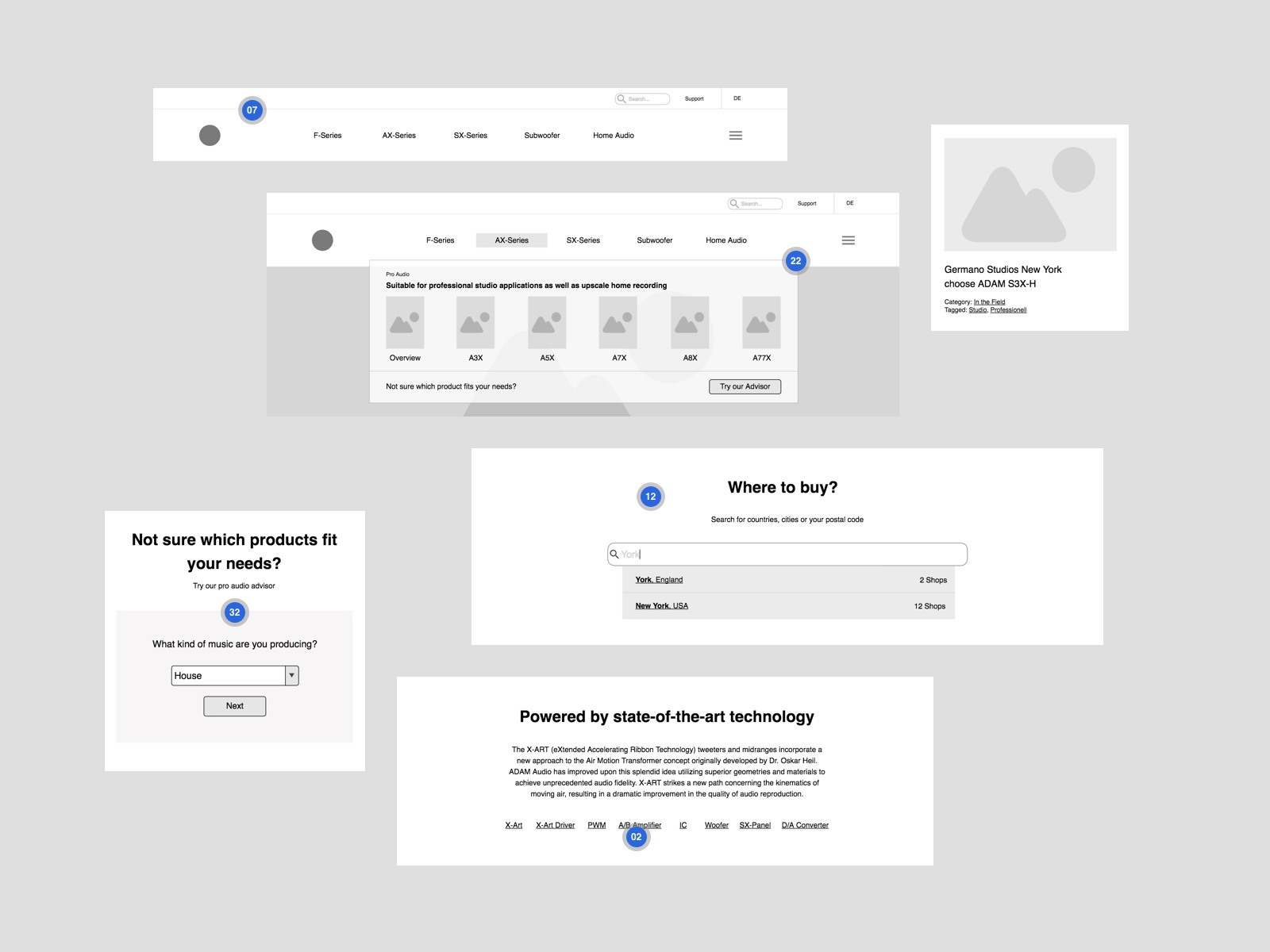 Adam Audio wireframes by Felix Dorner